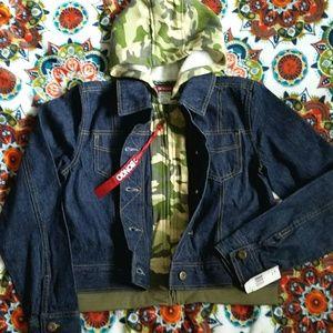 Brand NWT Bongo 2Fer Jean Jacket w/hoodie 12/14